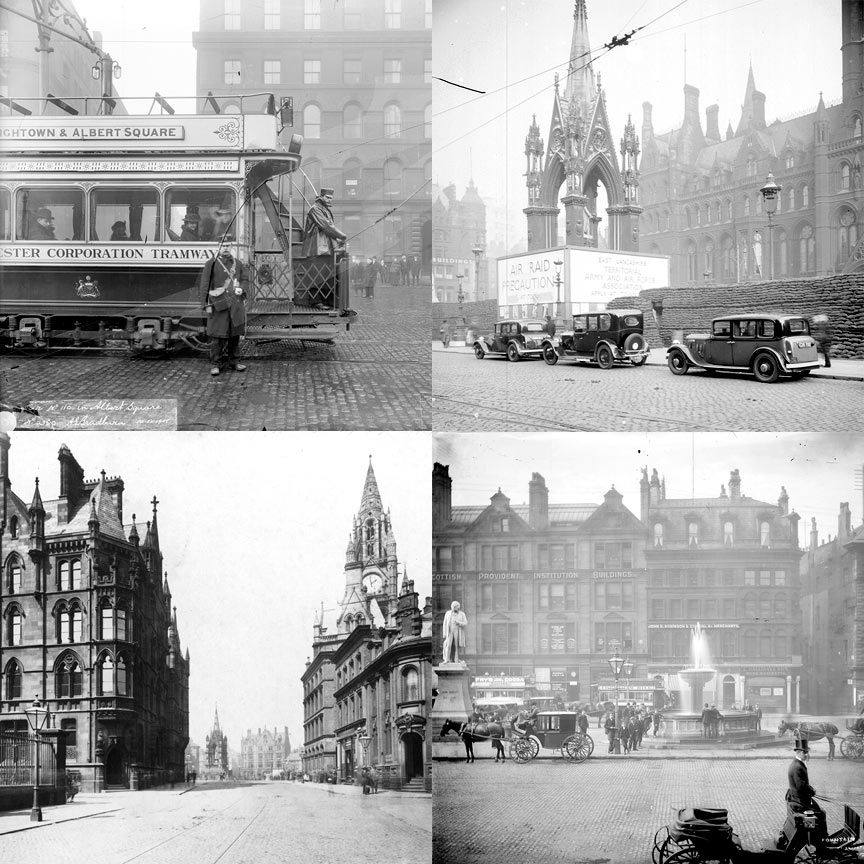 Tram 1900 | Albert Square 1939 | Mount Street looking to Albert Square 1890 | Albert Square fountain 1895